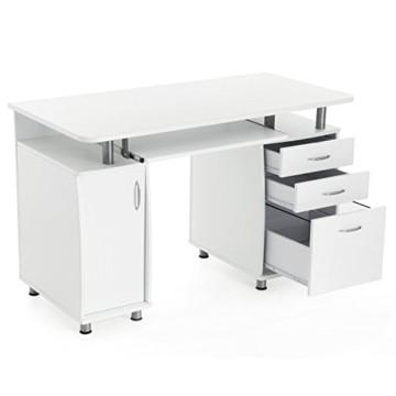Songmics mdf xxl 121 x 76 x 60 cm b rotisch computertisch for Schreibtisch mit rollen